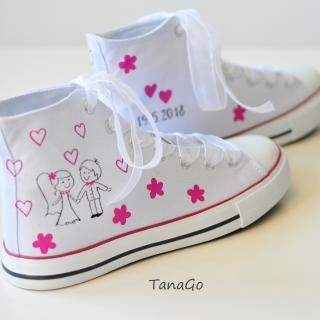 Svatební tenisky kotníkové s malinovou růžovou empty 2c848cb937